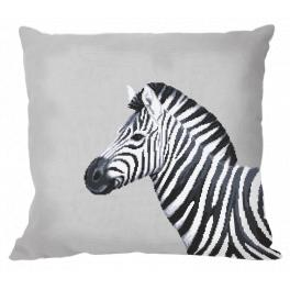 W 10656-01 Wzór do haftu PDF - Poduszka - Czarno-biała zebra