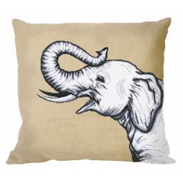 GU 10655-01 Wzór graficzny - Poduszka - Czarno-biały słoń