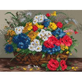 K 895 Kanwa z nadrukiem - Polne kwiaty