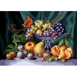 K 7081 Kanwa z nadrukiem - Martwa natura - patera z owocami