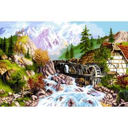 K 7304 Kanwa z nadrukiem - Pejzaż górski - młyn z rzeką