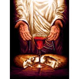 K 7271 Kanwa z nadrukiem - Jezus Chrystus - Chleb i Wino