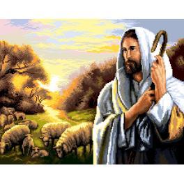 K 7277 Kanwa z nadrukiem - Jezus Chrystus z owieczkami