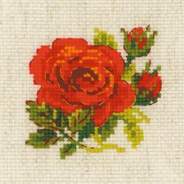 RIO 1843 Zestaw do haftu z włóczką - Czerwona róża
