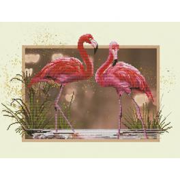 NCB 4507 Zestaw z muliną i podmalowanym tłem - Flamingi
