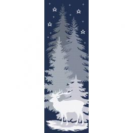 K 10646 Kanwa z nadrukiem - Śnieżny jeleń