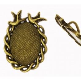 Baza medalionu owalna brąz 19x26mm plecionka