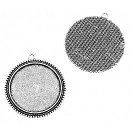 Baza medalionu okrągła kolor srebrny 35mm