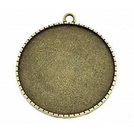 Baza medalionu okrągła brąz 40mm kwiaty