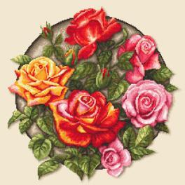 K 10649 Kanwa z nadrukiem - Róże
