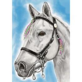 ZTDE 7102 Zestaw do diamond painting - Biały koń