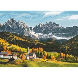 K 10666 Kanwa z nadrukiem - Góry jesienią barwione
