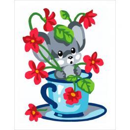 CA 3331K Zestaw do haftu gobelinowego - Myszka w kwiatkach