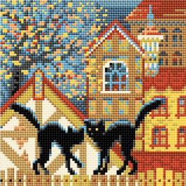 RIO AM0049 Zestaw do diamond painting - Miasto i koty