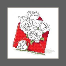 ZU 10327-03 Zestaw do haftu - Kartka - Koperta pełna róż