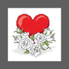 ZU 10327-02 Zestaw do haftu - Kartka - Serce z kwiatami róży