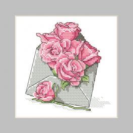 ZU 10326-03 Zestaw do haftu - Kartka - Koperta z różami
