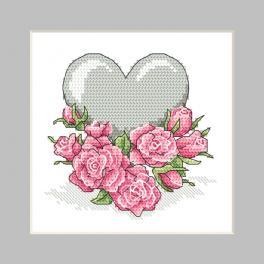 ZU 10326-02 Zestaw do haftu - Kartka - Serduszko z różami