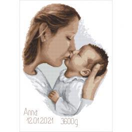 ZN 10457 Zestaw do haftu z nadrukiem - Metryczka - Matczyny pocałunek