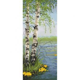 K 10459 Kanwa z nadrukiem - Wiosenne brzozy