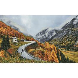 NCP 1507 Zestaw do haftu z podmalowanym tłem - Mgła w górach
