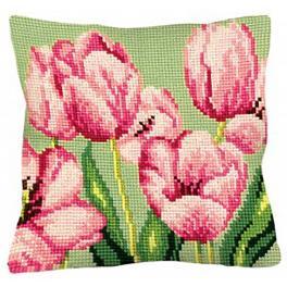 CA 5070 Zestaw do haftu z nadrukiem - Poduszka - Różowe tulipany