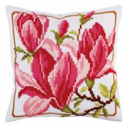 CA 5292 Zestaw do haftu z nadrukiem - Poduszka - Kwiaty magnolii