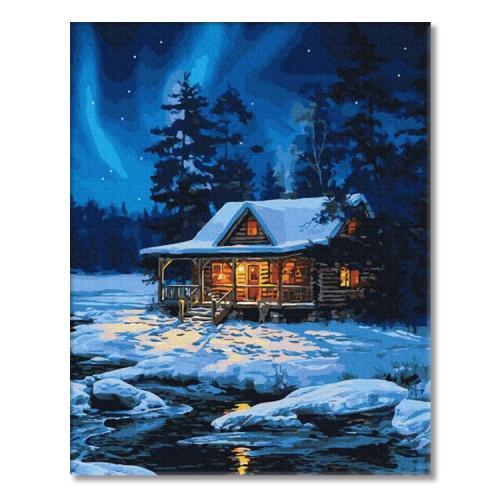 PC4050791 Malowanie po numerach - Leśny domek zimą