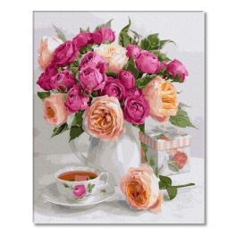 PC4050555 Malowanie po numerach - Bukiet róż na stole