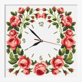 ZGRI 10677 Zestaw z muliną, koralikami, zegarem i ramką - Zegar z różami