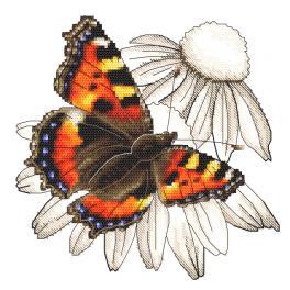 GC 10331 Wzór do haftu drukowany - Motyl i kwiat jeżówki