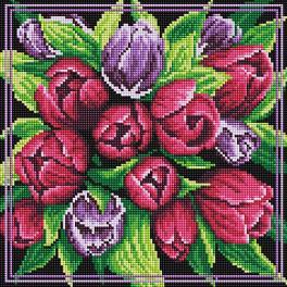 PD3030011 Zestaw do diamond painting - Bukiet tulipanów