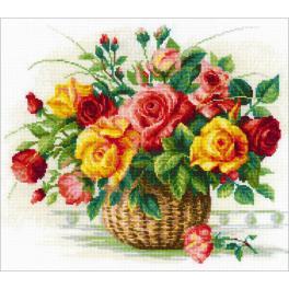 RIO 1722 Zestaw do haftu z muliną - Koszyk róż