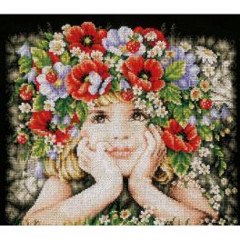 LPN-0156698 Zestaw do haftu - Dziewczynka z kwiatami