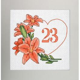 GU 10342 Wzór do haftu drukowany - Kartka urodzinowa - Serce z liliami