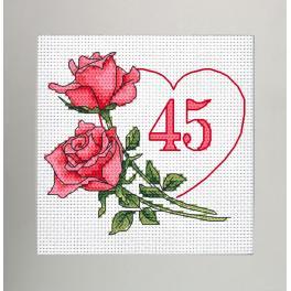 GU 10341 Wzór do haftu drukowany - Kartka urodzinowa - Serce z różami