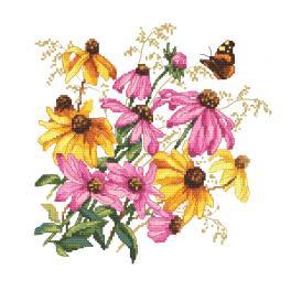 GC 10471 Wzór do haftu drukowany - Kolorowe kwiaty