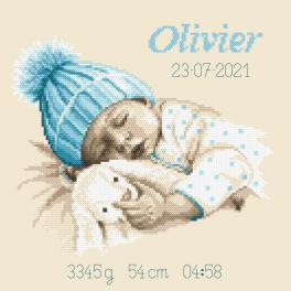 GC 10337 Wzór do haftu drukowany - Metryczka - Słodki sen chłopczyka
