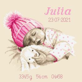 GC 10338 Wzór do haftu drukowany - Metryczka - Słodki sen dziewczynki