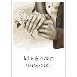 GC 10340 Wzór do haftu drukowany - Pamiątka ślubna - Dłonie