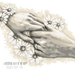 GC 10467 Wzór do haftu drukowany - Metryczka ślubna z dłońmi