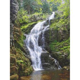 GC 10682 Wzór do haftu drukowany - Górski wodospad - Kamieńczyk