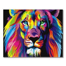 PC4050307 Malowanie po numerach - Tęczowy lew