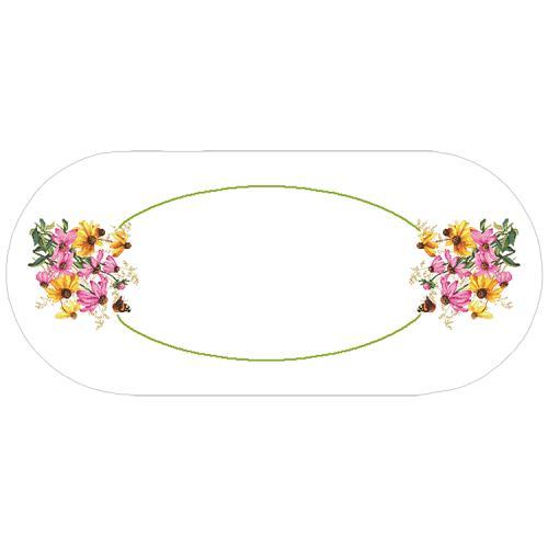 GU 10472 Wzór do haftu drukowany - Bieżnik owalny - Kolorowe kwiaty
