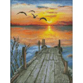 M AZ-1493 Zestaw do diamond painting - Zachód słońca nad jeziorem