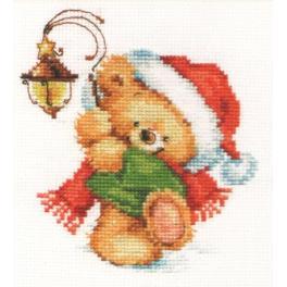 ALI 0-122 Zestaw do haftu - Świąteczny miś